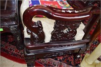 Carved Rosewood Bench With 3 Mother Of Pearl Panel