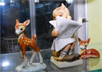 3 Early Hummel Figures: 2 Fawns & Boy With Paper,