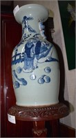 Vintage Blue & White Hand Decorated Chinese Urn