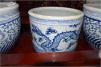 3 Heavy Blue & White Chinese Jardinières With Wax