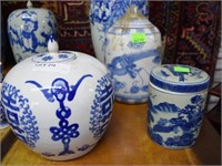 3 Oriental Covered Jars, 2 With Finial Tops
