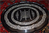 "Folding Abalone Inlaid Bed Tray 27"" X 20"""