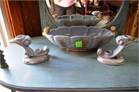 Abindgton Pottery Console Set In Powder Blue With