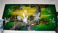 4 Panel Polychrome Painted, Mother Of Pearl Inlaid