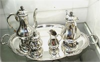P. Ferner Sterling Tea Set On Large Silverplate Tr