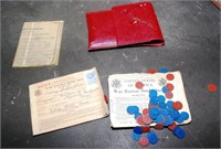 Leather Pouch Containing Rations, Coupons &Coins,