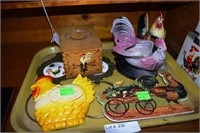 Chicken Themed Articles, Planter, Towel Holder & T