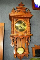 Oak Cased German Style Wall Clock With Exposed Pen