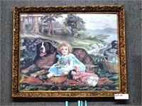 Gesso Framed Print Of Young Girl With Dog And Doll
