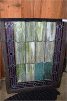 "32""X21"" Vintage Slag Stained Glass Window Panel"