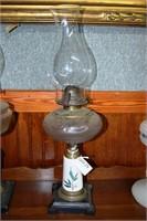 Pink Milk Glass Base Crystal Bowl Oil Lamp