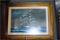 Pastel Drawing Of Tall Ship At Sea Signed Vallez I