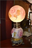Hand Decorated Parlor Lamp With Pink Rose Design