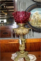 Ornate Brass Oil Lamp With Cranberry Shade & Cryst