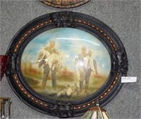 Convex Oval Hand Tinted Photo Of Goose Hunters Wit