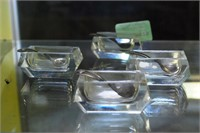 Set Of 4 Art Deco Crystal Salts With Sterling S