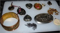 Costume Jewelry: Some Sterling, Bangle, Horse Belt