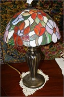 Custom Lead Glass Floral Table Lamp