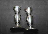 Pair Of Crown Weighted Sterling Candlesticks