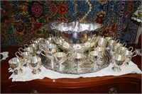 P. Ferner Epns Punch Bowl, Under Tray & 34 Cups Wi