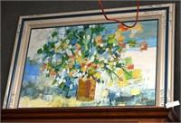 Acrylic Abstract Still Life On Canvas Signed C. Ho