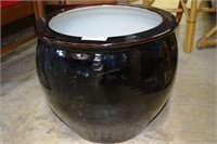 """18"""" X 16"""" Brown High Glaze Goldfish Bowl With Whit"""