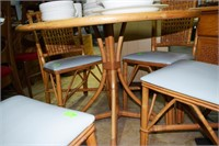 "6Pc Rattan 40"" Round Dining Table, 4 Powder Blue P"