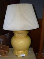 Pair Of Yellow Ceramic Bulbous Table Lamps