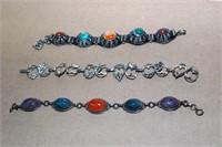3 Sterling Bracelets: 2 Gemstone Scarabs, & Music