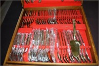 Thai Bronze Service For 12 Flatware Set In Teak Bo