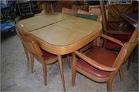 Haywood Wakefield Blonde Dining Table With 4 Chair