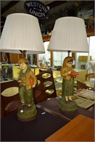 Pair Of Peasant Children Table Lamps