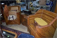 6Pc Custom Rattan Sofa, 2 Arm Chairs & 3Pc Side Ta