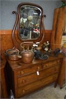 Oak 2/2 Refinished Dresser With Bevel Mirror