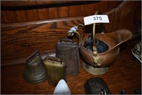 Copper Coal Shovel, Cow And Brass Bells, Silverpla