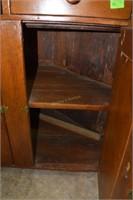 2 Part Pine 19Th Century Corner Cupboard W/Glass T
