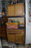 Cottage Sized Hoosier Style Kitchen Cabinet W/Wood