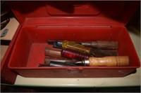 Louisville Slugger Bat And Box Of Chisels