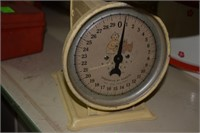 Nursery Scale W/Dial Indicator And Wicker Basket.