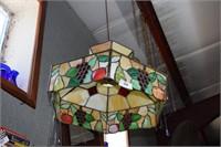 Lead Glass Hanging Lamp In Fruit Motif, As Is