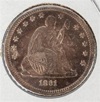 Coin 1861  Seated Liberty Quarter Almost Unc.
