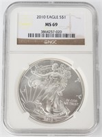 Coin 2010 American Silver Eagle NGC MS69