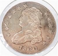"Coin 1820 Large ""0"" Bust Half Dollar Brilliant Unc"