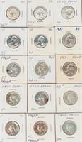 Coin 50 Proof Washington Silver 90% Quarters