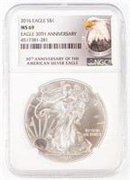 Coin 2016 American Silver Eagle NGC MS69