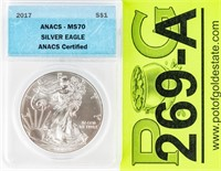 Coin 2017 American Silver Eagle ANACS MS70