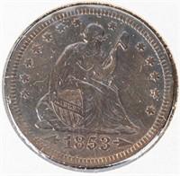 Coin 1853 Arrow & Rays Seated Quarter XF