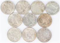 Coin 10 Peace  Silver Dollars Nice!