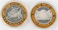 Coin 2 Silver Casino Tokens Rivera & Pioneer