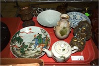 Oriental Lot Inc: Painted Tea Pot, 3 Painted Bowls